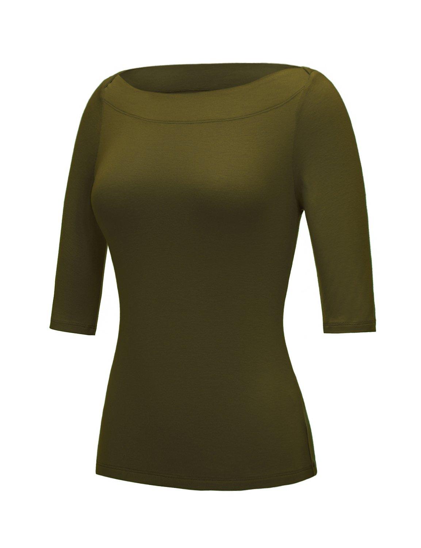 Regna X Love Coated Women's Cap Sleeve Off The Shoulder Super Soft tee(2XL, Olive)