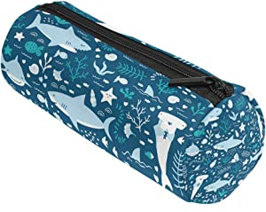 ALAZA Cartoon Blue Sharks with Sealife Animal Pencil Pen Case Pouch Bag with Zipper for s School Stationery Office Supplies
