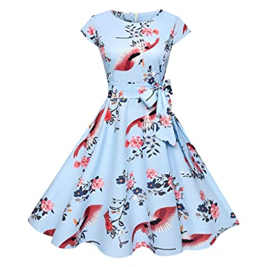 dd08a80aa1a RoseGal Vintage Round Collar Cap Sleeve Bird Floral Print Belted Women A-line  Dress