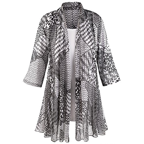 CATALOG CLASSICS Women's Puzzle-Print Jacket with White T-Shirt Set - 3/4 Sleeves - 2X