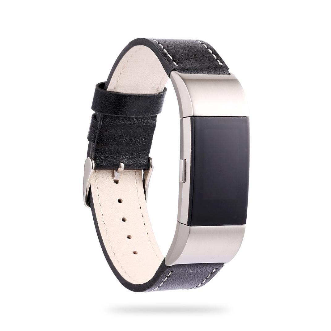 FreshZone ラグジュアリー レザー バンド 調整可能な時計バンド Fitbit Charge 2 用  ブラック B076C69S1D
