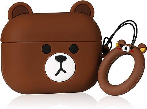 ケース for Airpods Pro キャラクター かわいい イヤーチップ シリコン おしゃれ 落下防止 衝撃を防ぐ アニメ 可愛い 漫画 人気 萌え ダストガード Airpod 第3世代に カバー Air Pods 3 (Brown Bear)