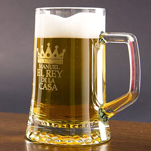 Regalo Original para Hombre: Jarra de Cerveza de Cristal para el Rey de la casa Personalizada con Nombre en Estuche cumpleaños y Día del Padre.