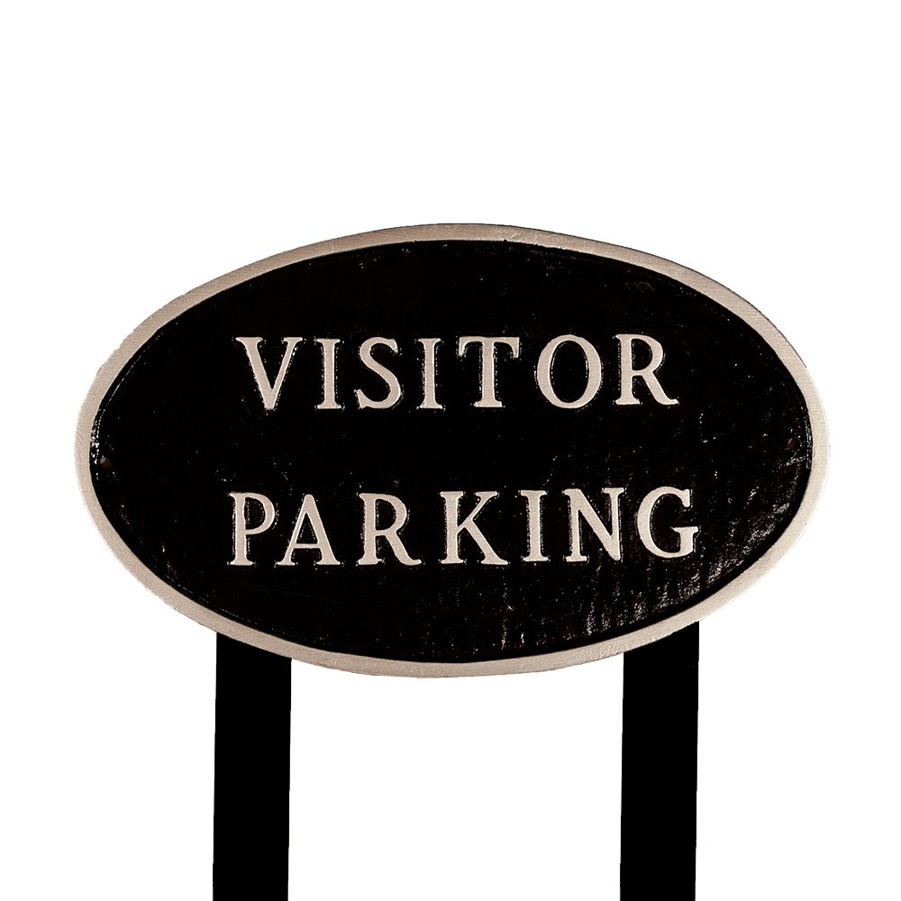 Montague Metal Products SP-20L-BS-LS Large Black and Silver Visitor Parking Oval Statement Plaque with 2 23-Inch Lawn Stakes