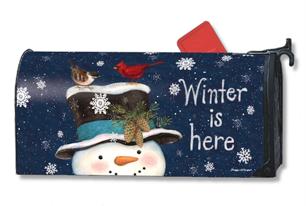 amazoncom winter is here large magnetic mailbox cover snowman oversized mailwraps garden outdoor