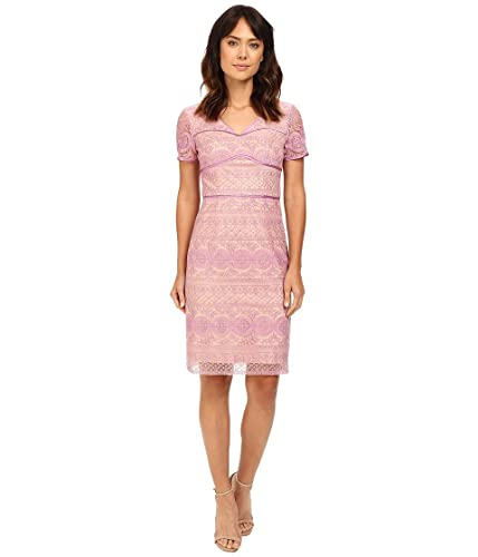 NUE by Shani Womens Lilac Lace Dress with V-Neck and Short Sleeves