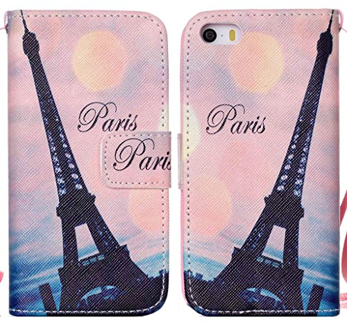 (iPhone 5S Case, PU Leather Wallet Flip Paris Eiffel Tower Design Folio Protective Holder Magnetic Closure Strap Cover with Stick-on Cards Holder)