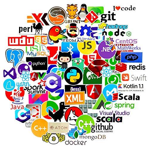 72 pcs Cool Vinyls Graffiti Stickers of IT Logo and Programming Coder Languages Series Logo, COMKI Developer Programmer Decoration,C# C++,Python,JS Java (Pack of 72)