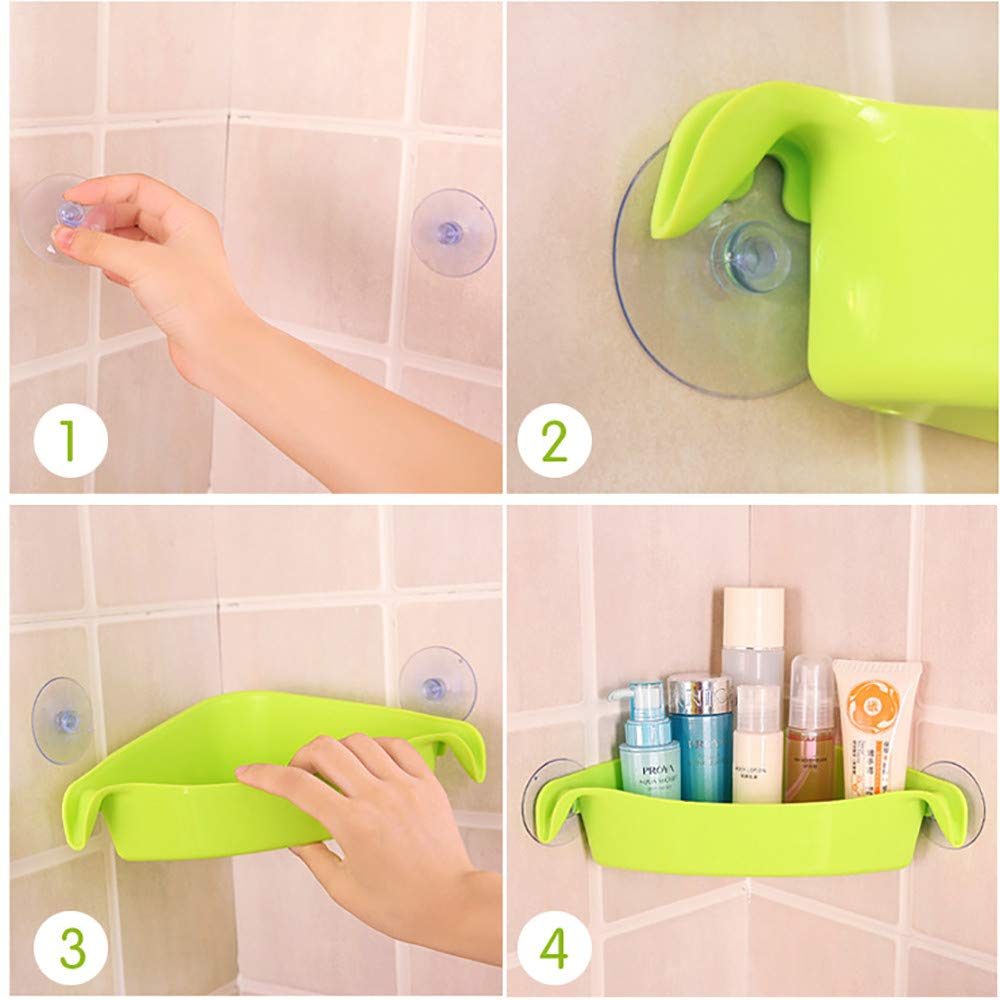 AGUIguo Home Bathroom Corner Shelf Suction Rack Organizer Cup Storage Shower Wall Basket (Green) by AGUIguo bathroom products (Image #5)