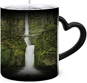 Multnomah waterfall near Portland,Magic Mug for Specialty Coffee Drinks, Creative Gift Choice For Kids And Oregon taken with a long exposure.This is the second tallest in United States. 11oz