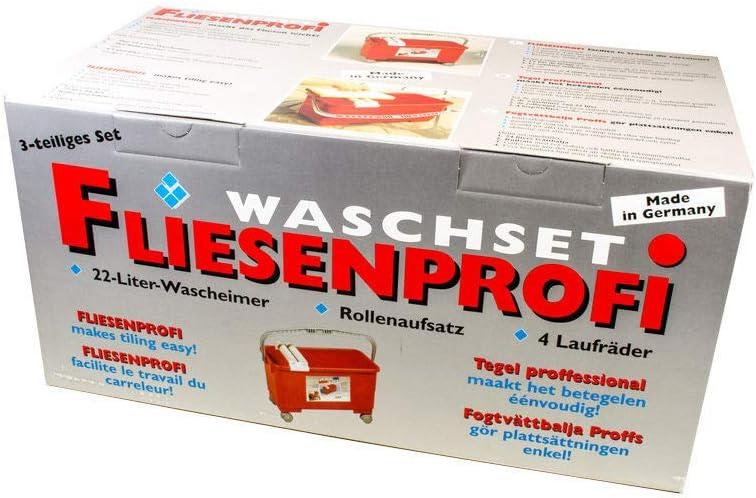 Fliesenwaschset 22 Liter mit R/ädern Waschset Wascheimer Eimer Fliesenprofi