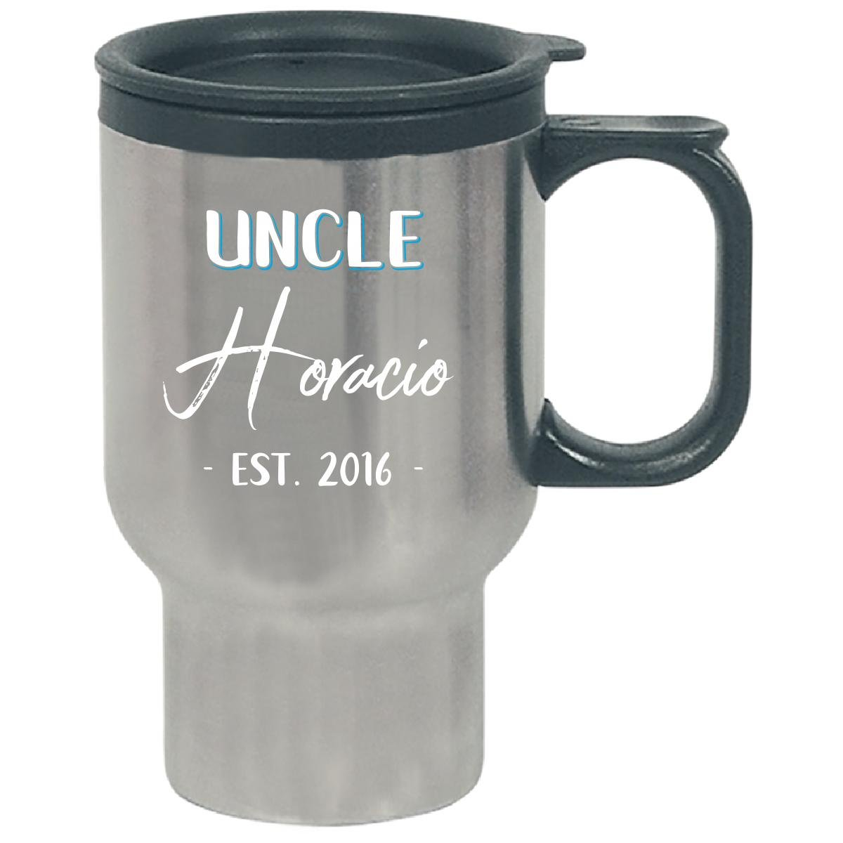 Uncle Horacio Est. 2016 New Baby Gift Announcement - Travel Mug by My Family Tee (Image #1)