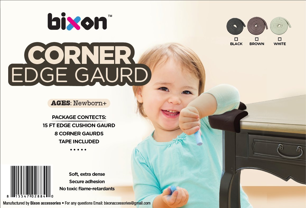 Bixon Corner Edge Guard – 15 ft Dense + 8 Cushion Guards with Double-Sided Tape; Keeping Toddlers Safe from Table Corner Injuries through Secure Adhesion Proofing (Black)