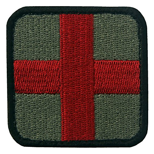 (EmbTao Embroidered Medic Cross Tactical Fastener Hook&Loop Patch - Olive & Red)