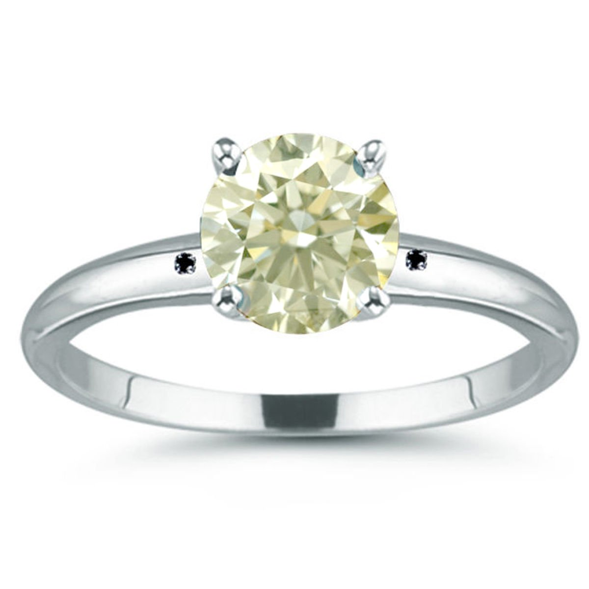 RINGJEWEL 3.68 ct SI2 Round Moissanite Solitaire Silver Plated Engagement Ring Off White Color Size 7