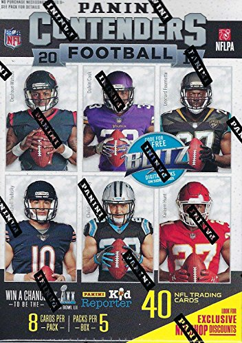 2017 Panini Contenders Football Series Factory Sealed Blaster Box of Packs with One AUTOGRAPHED or MEMORABILIA Card per Box from Unopened Box of Packs