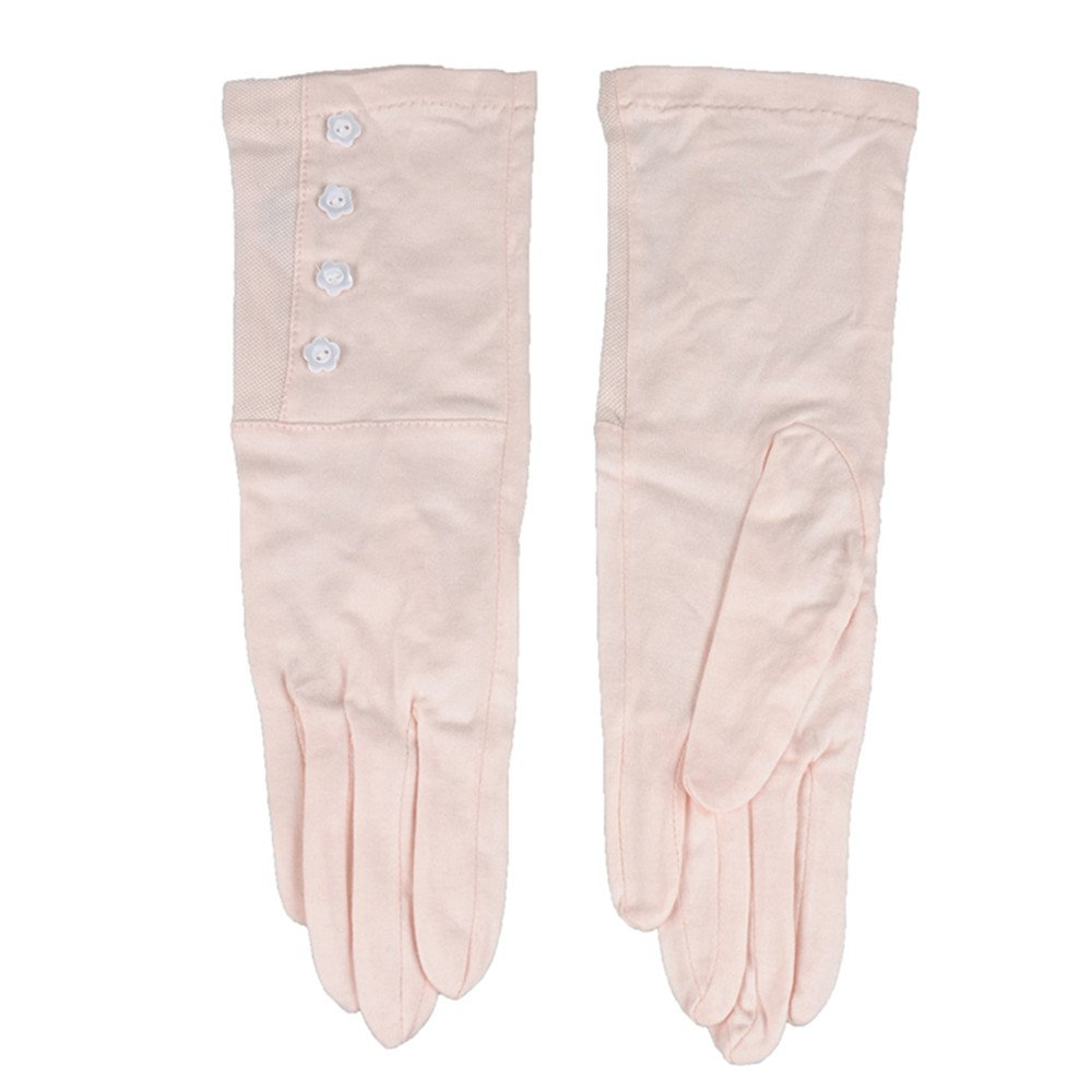 New Kenmont Summer Women Outdoor 100% Cotton Uv Protection Sun Driving Gloves Mittens (Beige) (Pink)