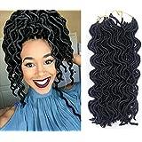 Besteffie Hair 6Packs/lot Wavy Faux Locs Crochet Braiding Hair Extensions 20inch Curly Fauxlocs Braids Soft Twist Dreadlocks Crochet Braids Synthetic Hair Extensions 1B Black