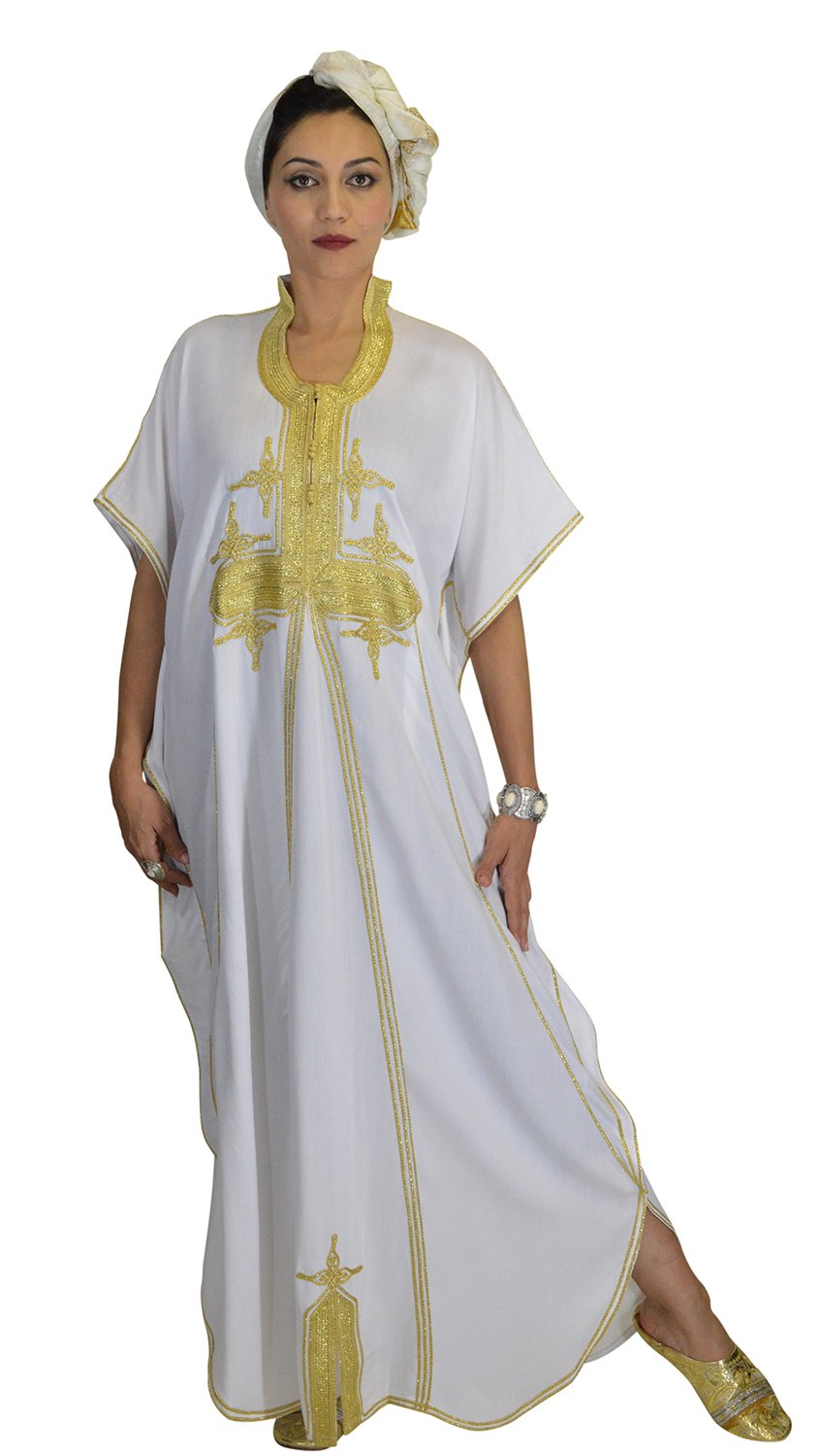 Moroccan Caftans Women Butterfly Hand Made with Gold Embroidery Long One Size White by Moroccan Caftans (Image #3)