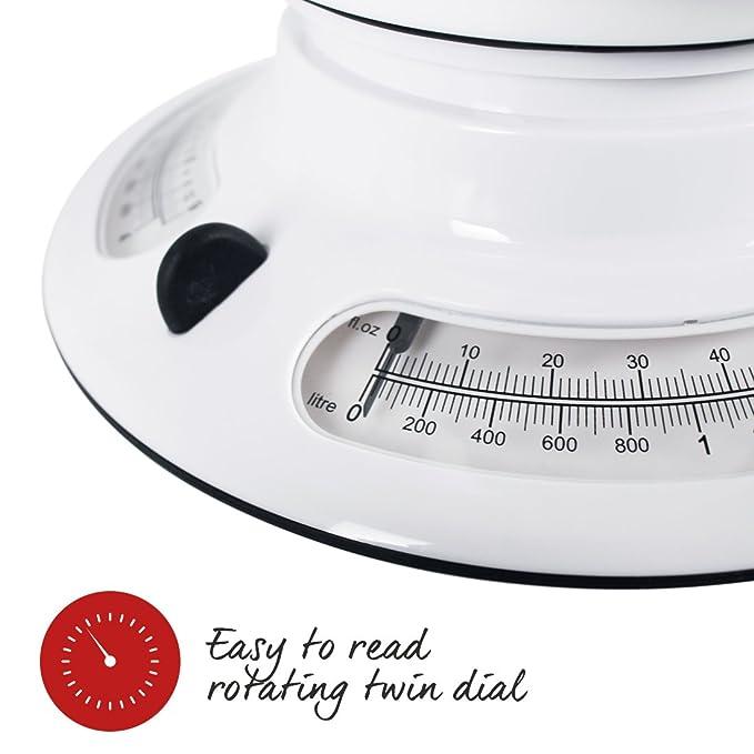 Salter 800WHBKDR Bascula de Cocina Blanca Amplio Contenedor, Aquatronic: Amazon.es: Salud y cuidado personal