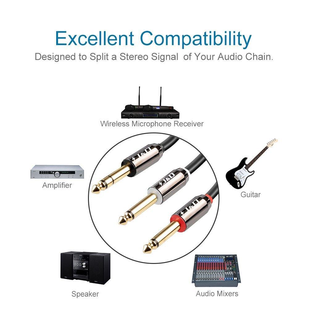 Audiowave Series J/&D Cable de 6,35 mm a 2 x 6,35 mm 6,35mm 1//4 Macho TRS a Doble 6,35 mm 1//4 Macho TS Cable de Inserci/ón Mono Est/éreo Adaptador de Audio y Divisor Cable Chapado en Oro 0.9 Meter