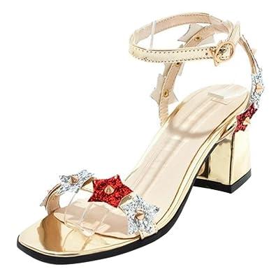 TAOFFEN Damen Blockabsatzs Sandalen Schuhe Ankle Strap