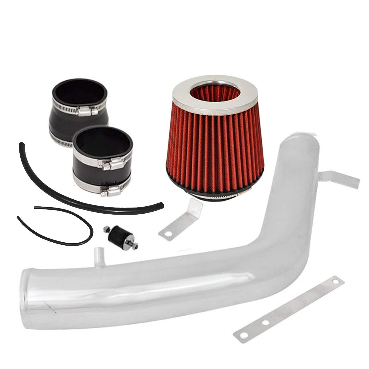 3 Inch Aluminum High Flow Cold Air Intake System Polish Pipe with Air Filter Red For 2003-2007 Honda Accord 3.0L V6 Engine Only