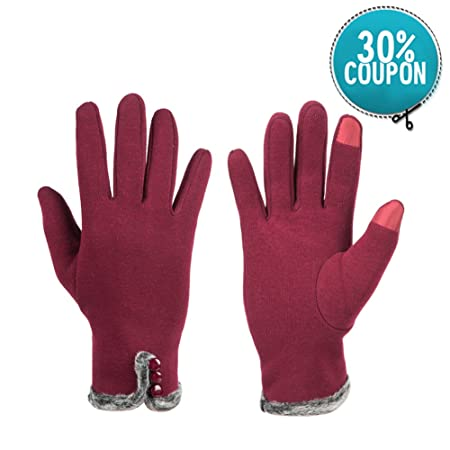 cae027247 GLOUE Women Gloves Cashmere with Three Buttons Elegant Touch Screen Gloves  Linging Warm Mitten Driving Full-finger Winter Supple Gloves, Red:  Amazon.co.uk: ...