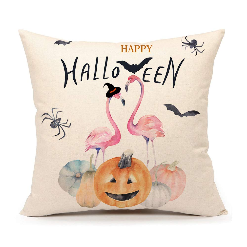 """4TH Emotion Happy Halloween Throw Pillow Cover Fall Pumpkin Cushion Case for Sofa Couch 18"""" x 18"""" Inch Cotton Linen (Flamingo)"""