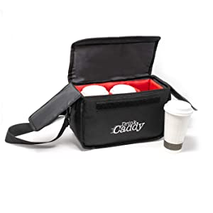 Drink Caddy Insulated Portable Drink Carrier - Reusable Coffee Cup Holder with Shoulder Straps Perfect for Food Delivery and Takeout - Easily Secures 3 Hot or Cold Beverages with Fold Over Closure.