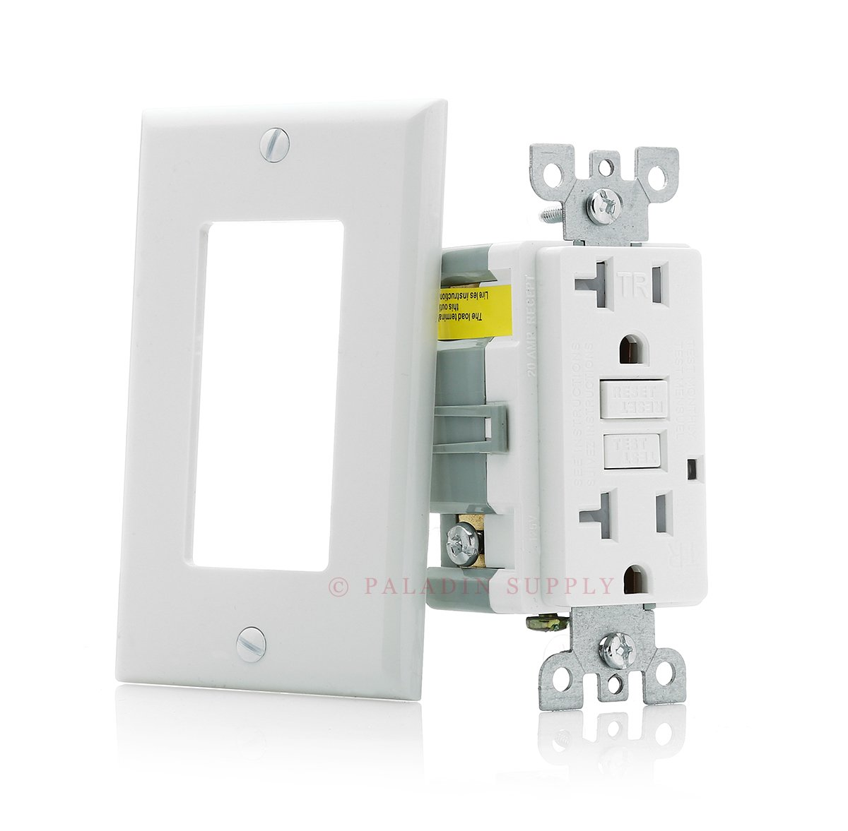 Paladin 20A Tamper Resistant GFCI GFI Receptacle Outlet w/ Wallplate & LED Indicator - UL Certified, White, 20 Amp 125v (1 Pack)