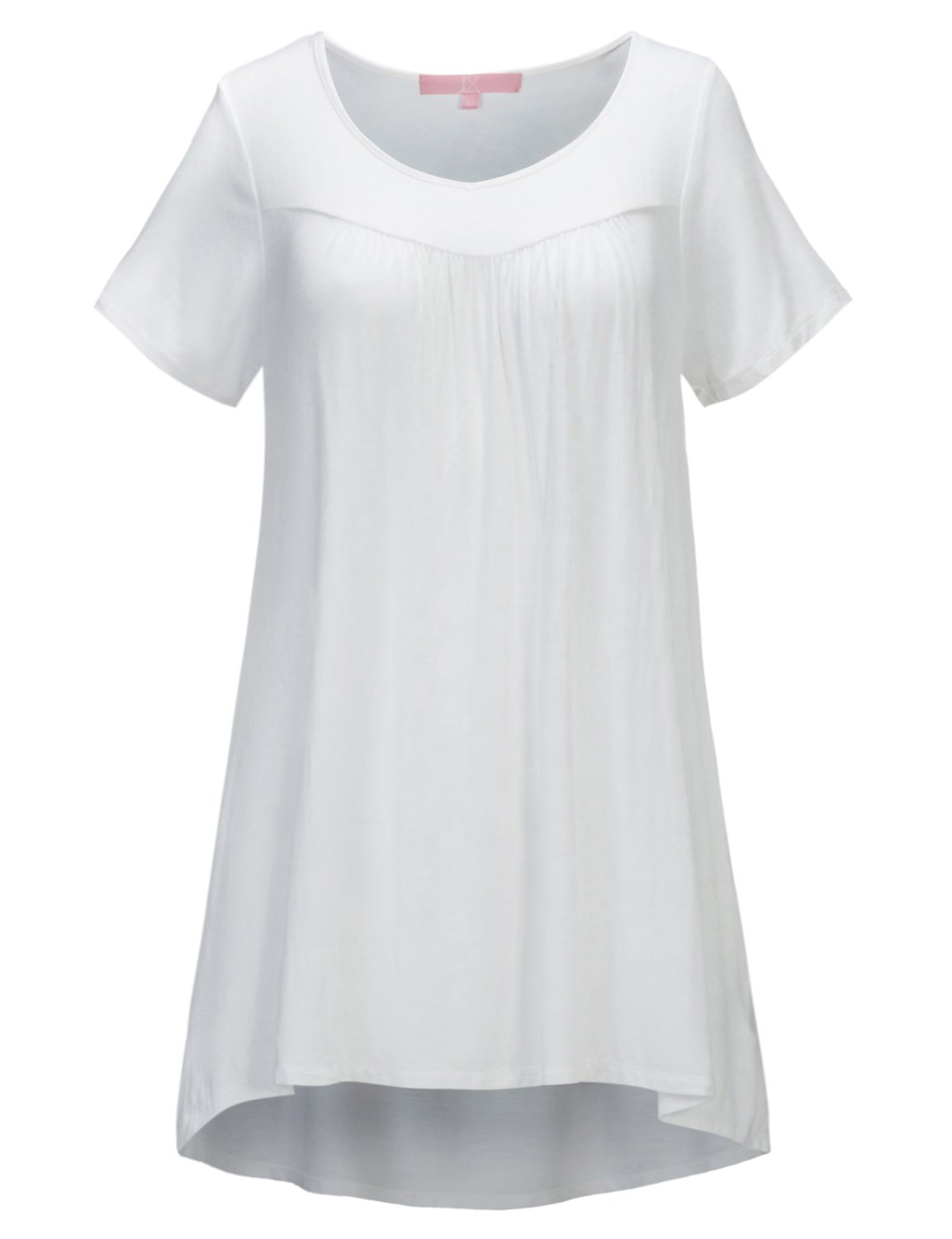 Regna X Women's Short Sleeve V Neck Loose fit Tunic Tops for Leggings White XL