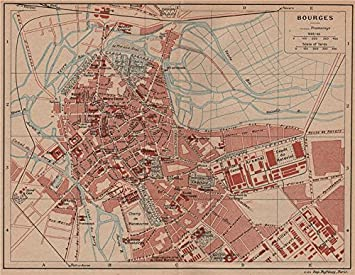 Amazoncom BOURGES Vintage town city map plan Cher 1926 old