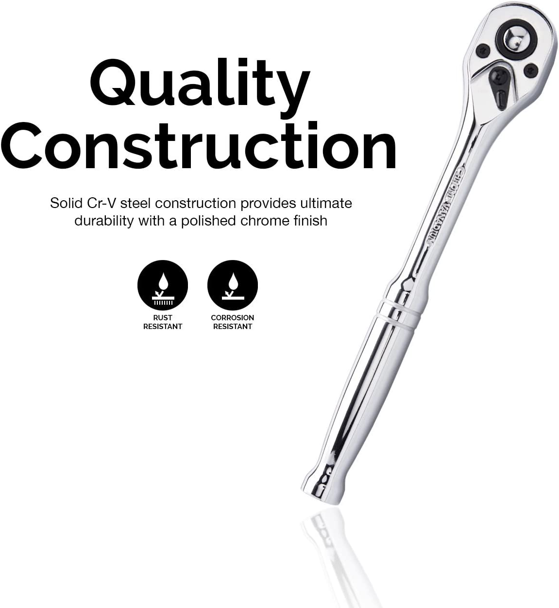 """72 Teeth Oval Head Neiko 03019A 1//2/"""" Drive Quick Release Composite Offset Ratchet CR-V Steel"""