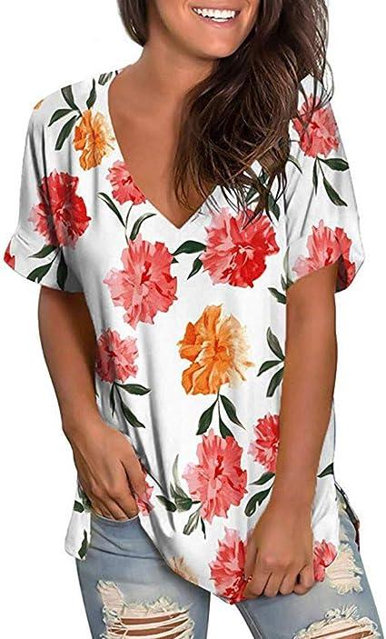 Camisetas Mujer SUNNSEAN Blusas de Color Liso Cuello en V Color Liso Estampado de Flores Transpirable Casual Sauve Camisas de Mangas Cortas Camisas T-Shirt Tops Verano Camisola: Amazon.es: Instrumentos musicales