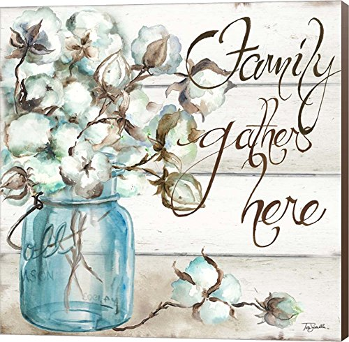Cotton Boll Mason Jar I Family by Tre Sorelle Studios Canvas Art