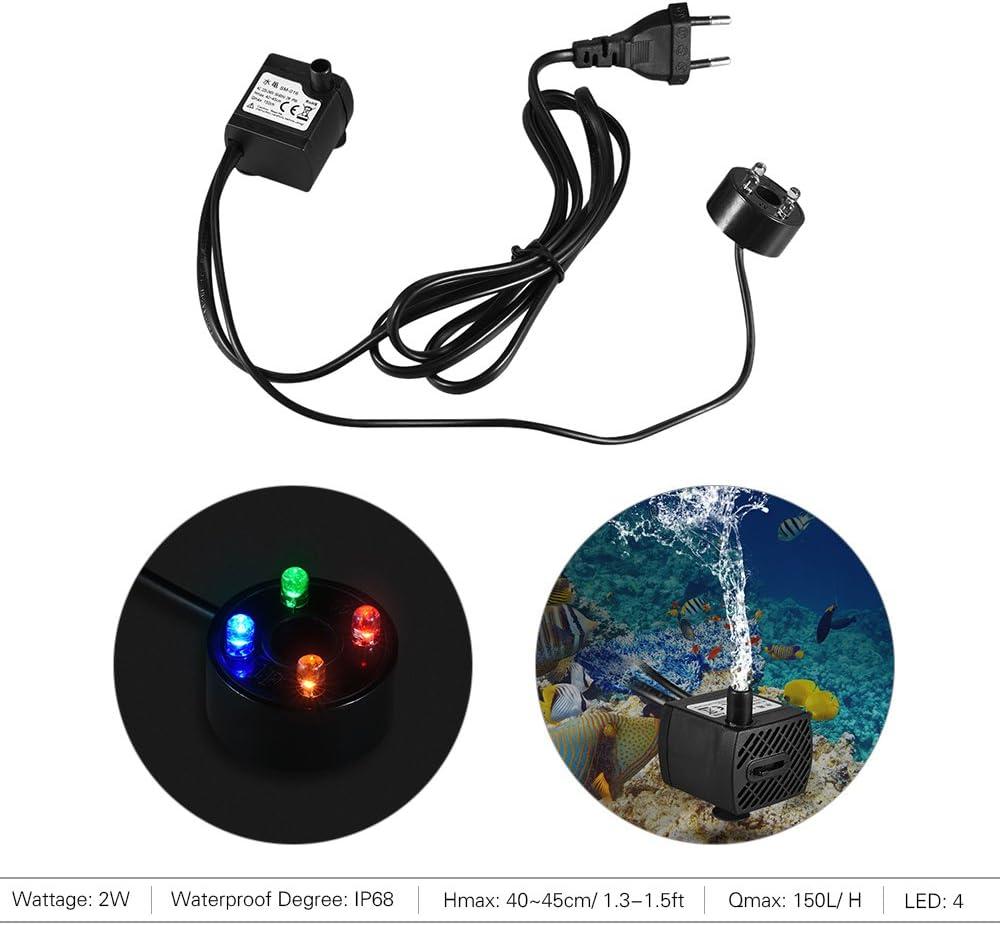 1.5m 350L//H 5W Bomba de Agua Sumergible con 4 Leds Luces Ultrasilencioso para Acuario Pecera Fuente de Sobremesa Hidropon/ía 4.9ft Cable de Alimentaci/ón Decdeal