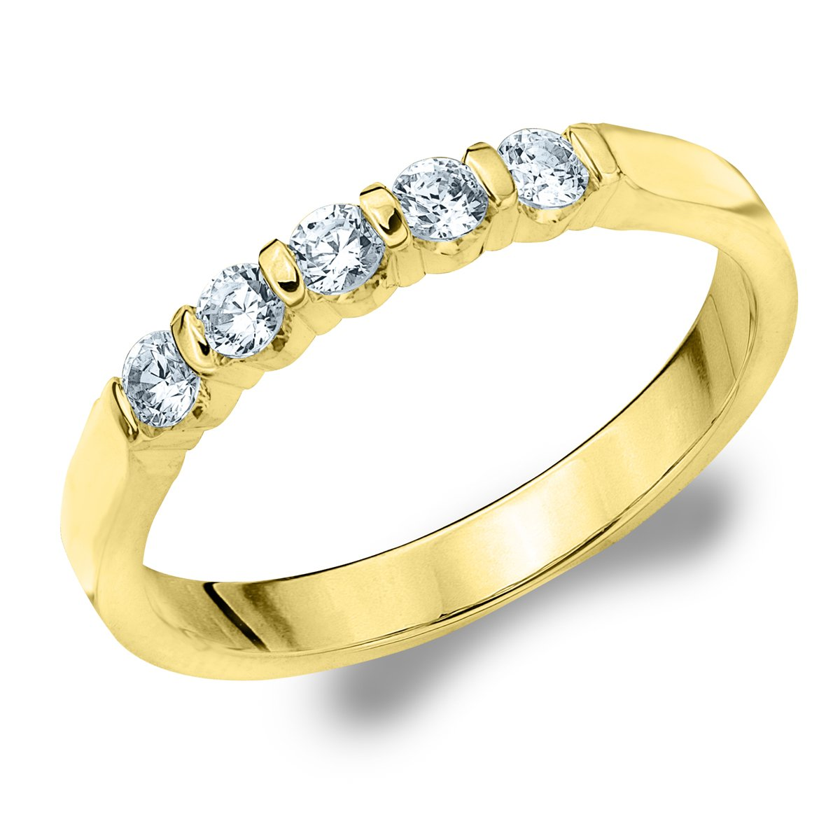 5 Stone Diamond Ring for Women.25 CT in 10K Gold, 5 Stone Diamond Wedding Anniversary Band by Eternity Wedding Bands (Image #1)