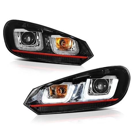 [For 2010-2014 Volkwagen MK6 Golf GTI VW Jetta Sportwagon Halogen Model]  OLED Neon Tube Black Projector Headlight Headlamp Assembly, Driver &