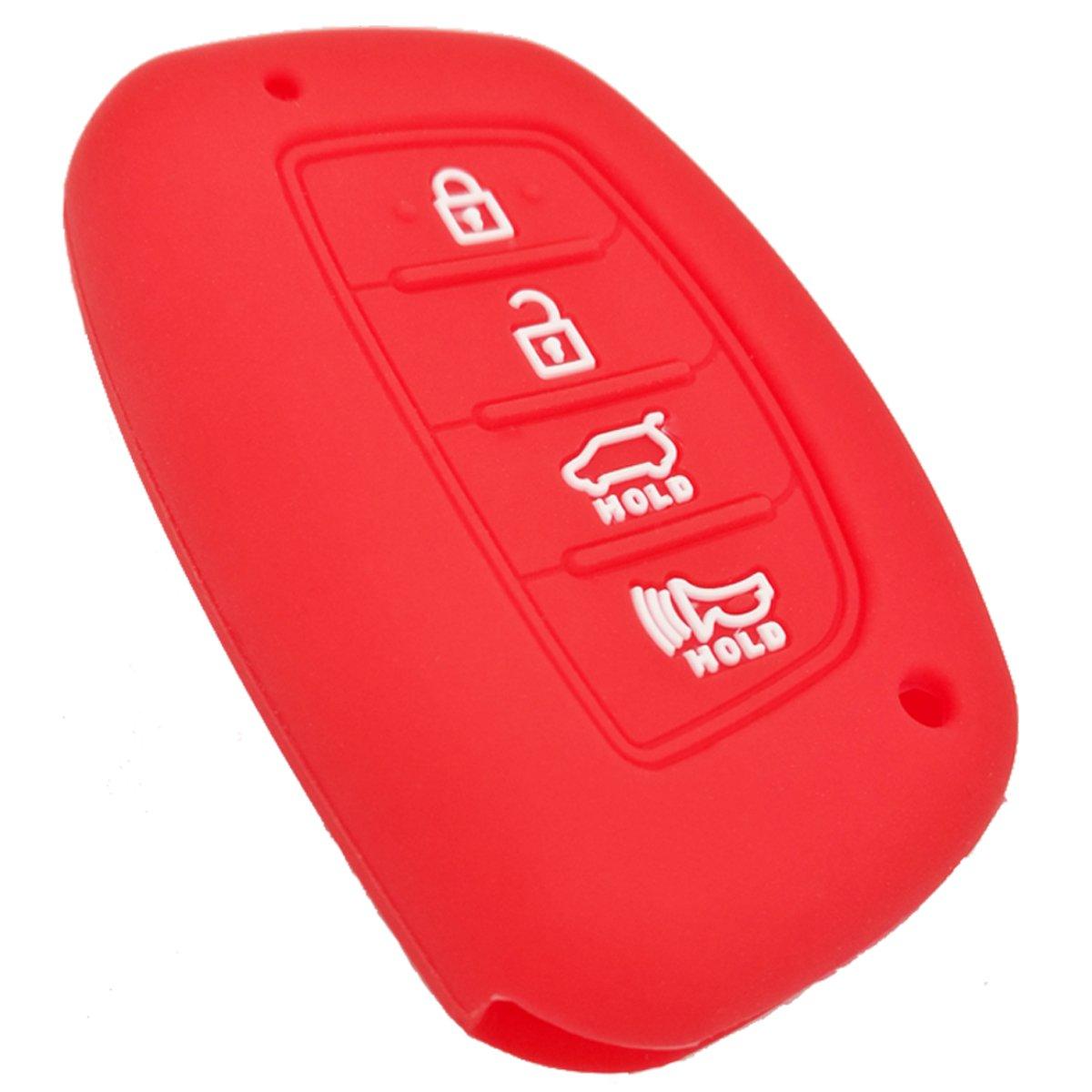 Coolbestda Silicone Protective Fob Remote Key Cover Case Skin Jacket for Hyundai Elantra Sonata Tucson I40 IX35 I45 Smart 4 Buttons Black
