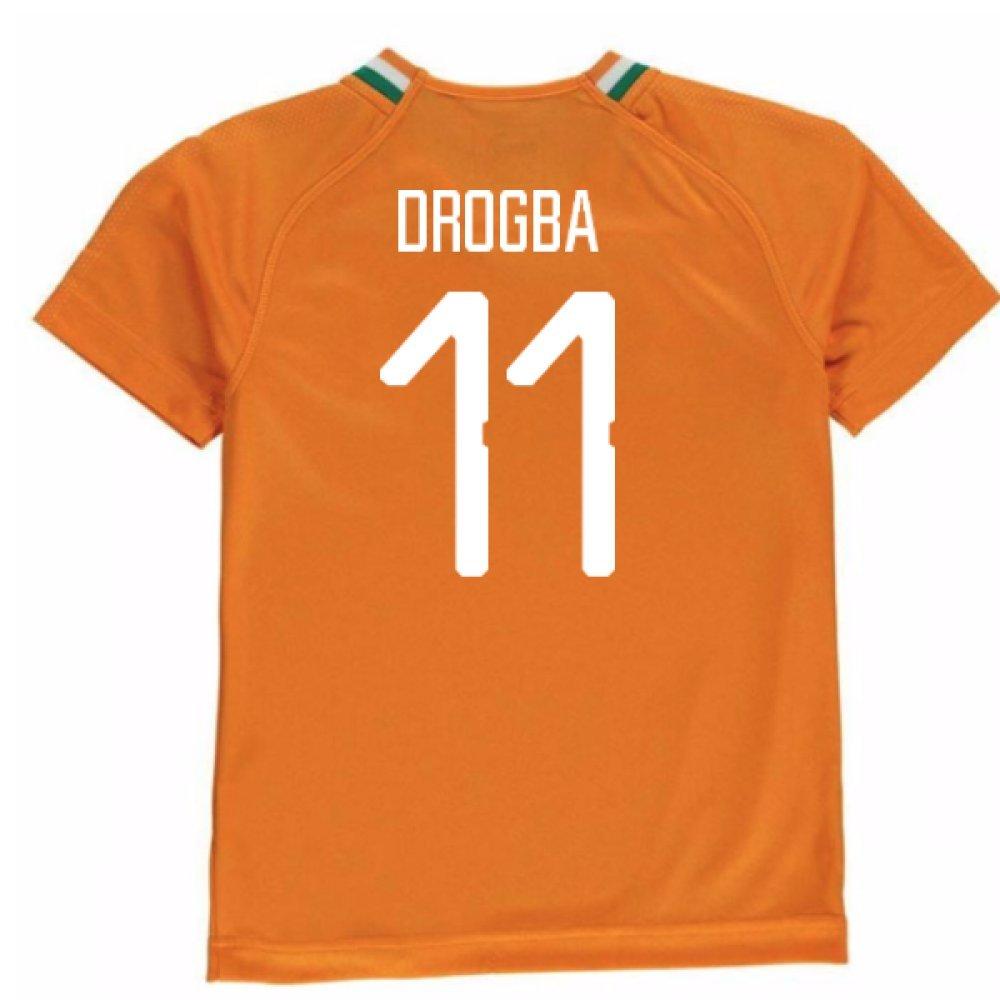 2018-19 Ivory Coast Home Football Soccer T-Shirt Trikot (Didier Drogba 11) - Kids