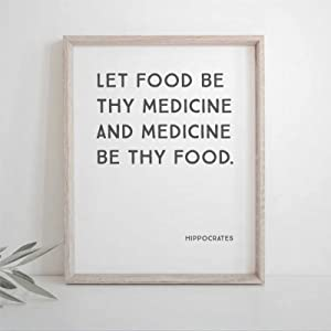 43LenaJon Let Food Be Thy Medicine Hippocrates Quote Kitchen Kav4 5s 16x20 inch Framed Wood Sign | Wooden Plaque Art & Wood Wall Decor Sign for Chrismas Home,Gardens, Coffee Shop,Porch, Gallery Wall.