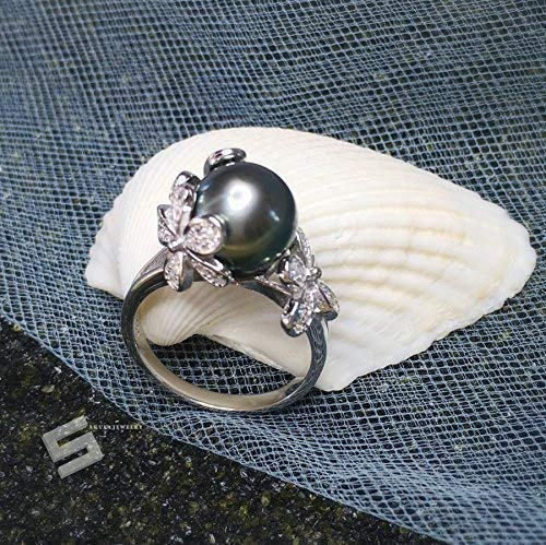 Genuine Tahitian Pearl Ring,11-12MM Black Pearl In Sterling Silver Promise Ring, South Sea Pearl Ring, Engagement Ring, Saltwater Pearl Ring