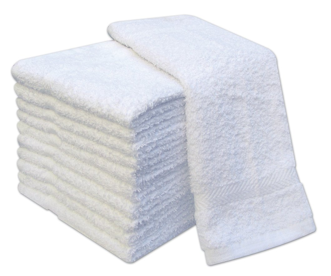 Pack de 12 toallas de manoplas de 100% algodón manoplas, manoplas 400 g/m², color blanco: Amazon.es: Hogar