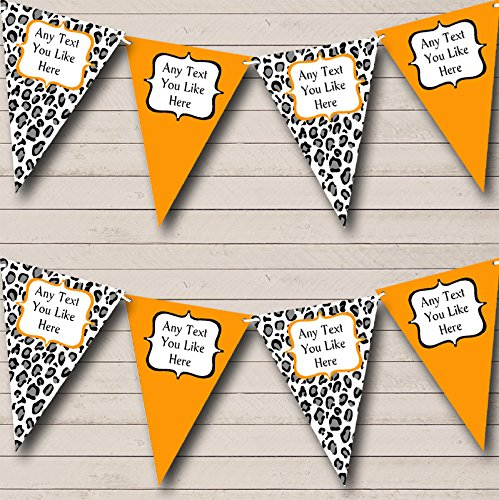 Black White Orange Animal Print Personalized Birthday Party Bunting Banner