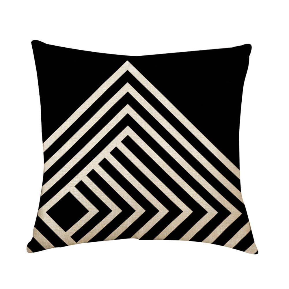 Outflower Formas geométricas de Colores Funda de Almohada (Lino, Simple triángulo Enrejado Funda de cojín Impresos/Dormitorio/salón/Oficina/Coche/Sofá 45* 45cm