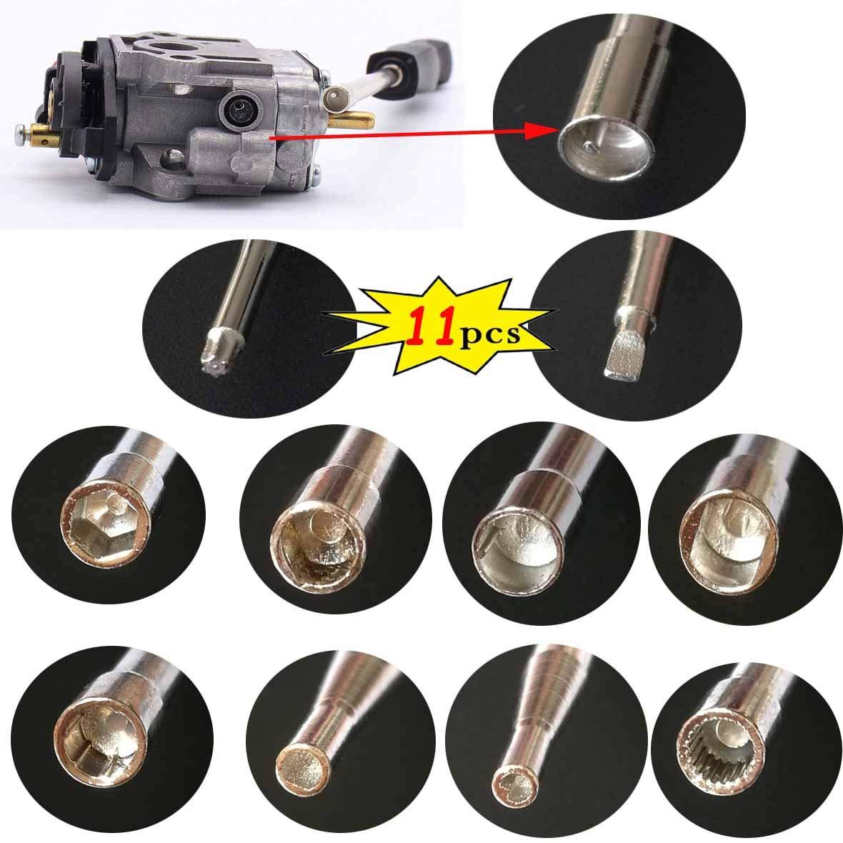 Includes: Carrying Case + Cleaning Brush Carburetor Adjustment Tool Set Carburetor Tune up Adjusting Tool Carburetor Adjustment Tool for Common 2 Cycle Carburator Engine 11pcs
