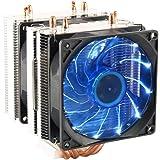 CPU Cooler Dual Fan PC Heatsink, LED Fan Computer CPU Air Cooling Cooler Radiator,Universal Socket Solution