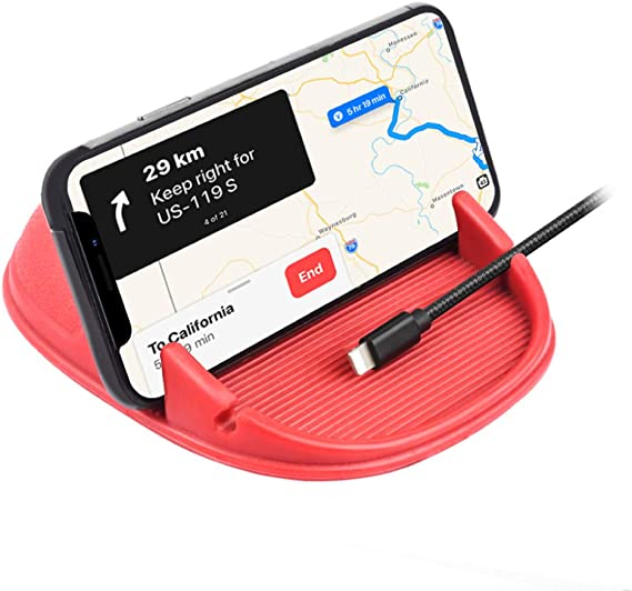 Anti-Slip Desk Phone Stand Compatible with Android Smartphones Black Samsung GPS Devices and More Car Cell Phone Holder Car Phone Mount Silicone Car Pad Mat for Various Dashboards