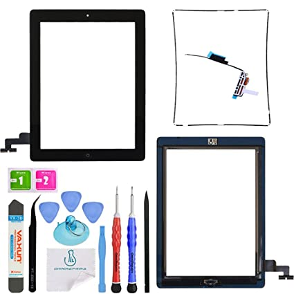 OmniRepairs-Glass Touch Screen Digitizer with Home Button Flex Cable OEM  Replacement For iPad 2 (2nd Generation) with Adhesive Tape, Midframe Bezel,